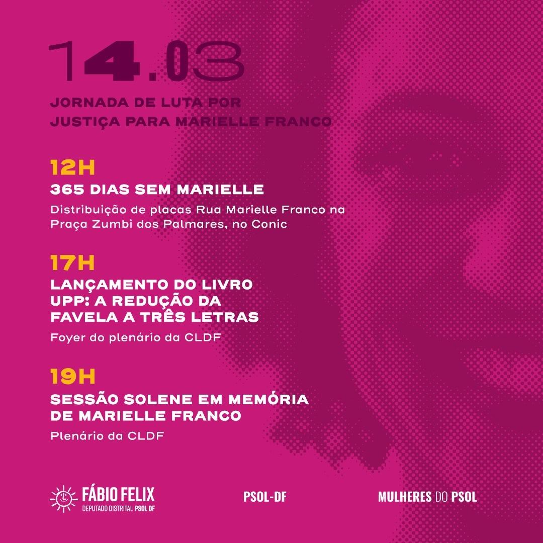 Atividades em memória de um ano da execução de Marielle Franco