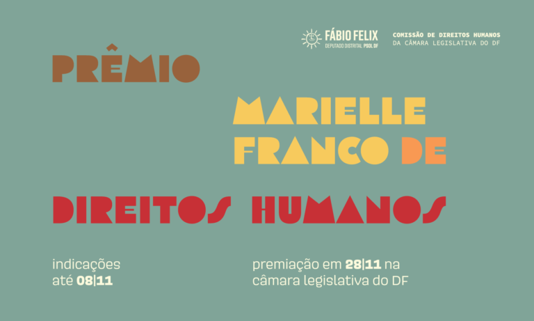 Inscrições abertas para o Prêmio Marielle Franco de Direitos Humanos