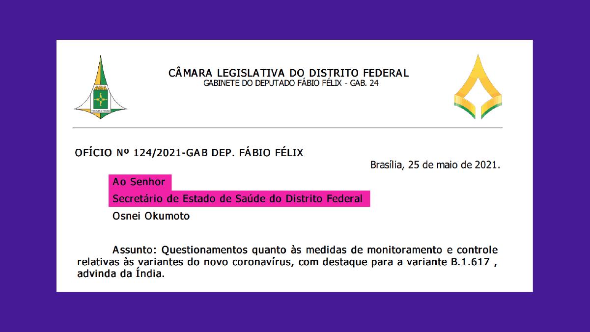 Deputado questiona GDF sobre controle de variantes
